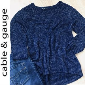 Cable & Gauge Sweater w/Metallic Threading